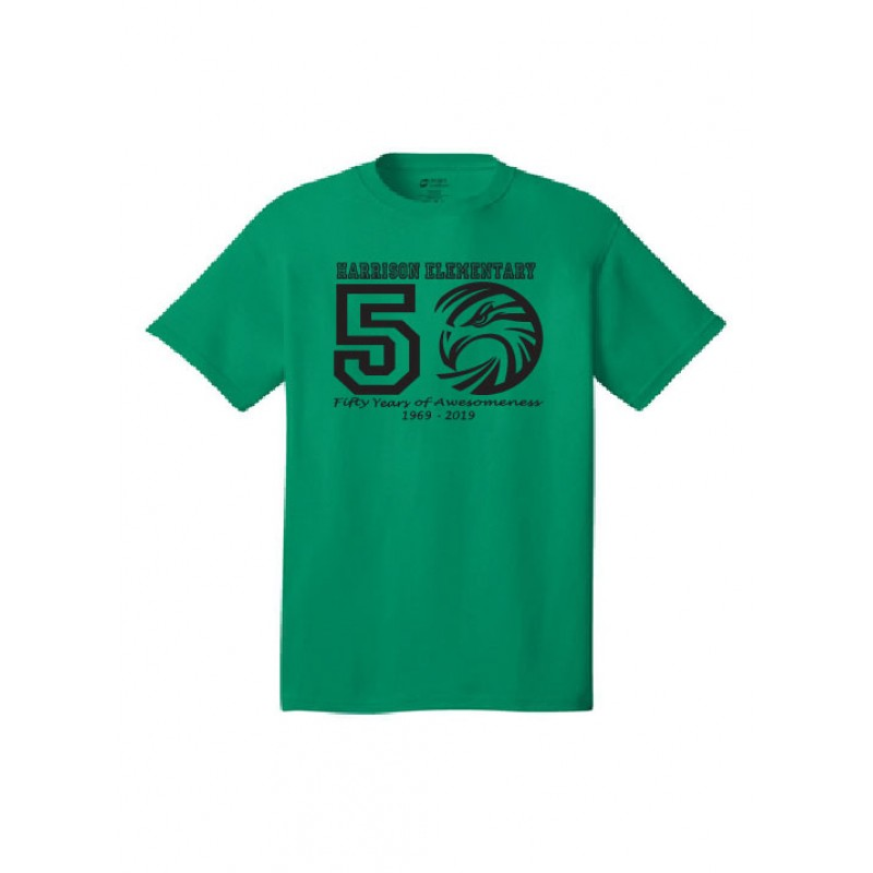 Harrison Hawks 50 years of Awesomeness,Full Front YOUTH Core Cotton Tee
