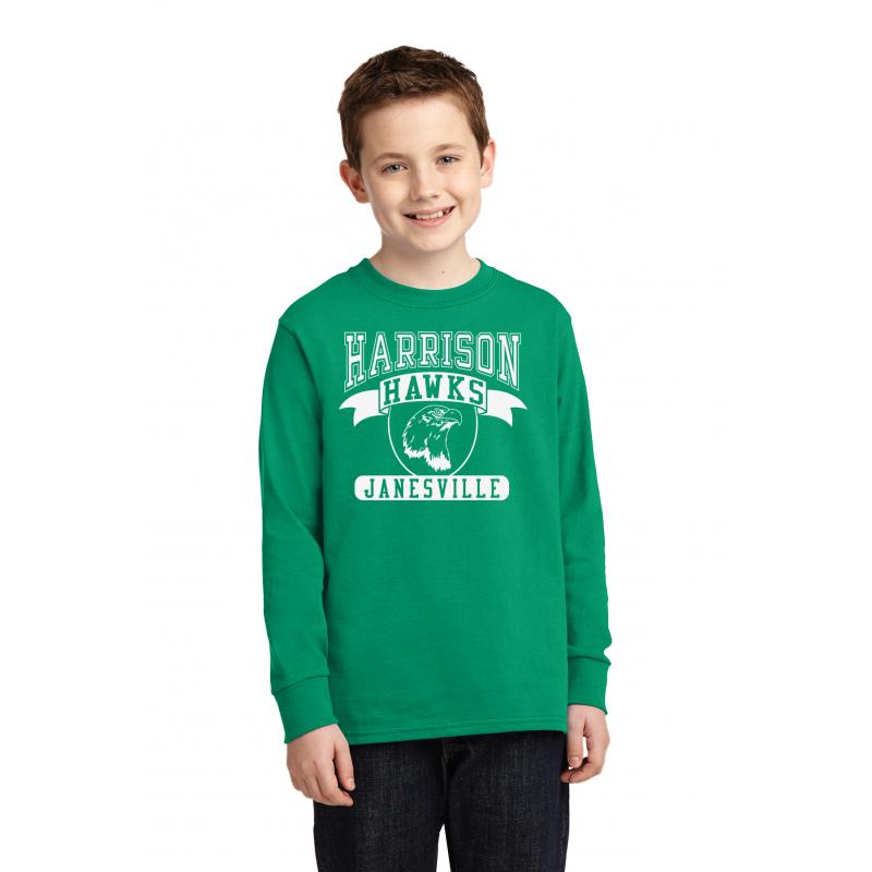 Harrison Hawks Tail Youth Long Sleeve Core Cotton Tee