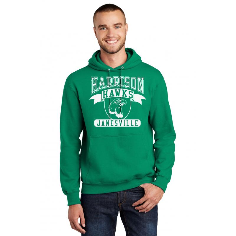 Harrison Hawks Adult Full Front Unisex Heavy Blend™ Hooded Sweatshirt