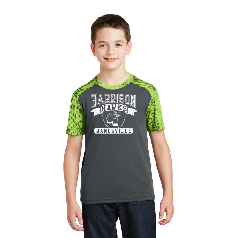 YST371, Harrison Hawks FULL FRONT Youth Heather LIME SHOCK Colorblock Contender™ Tee