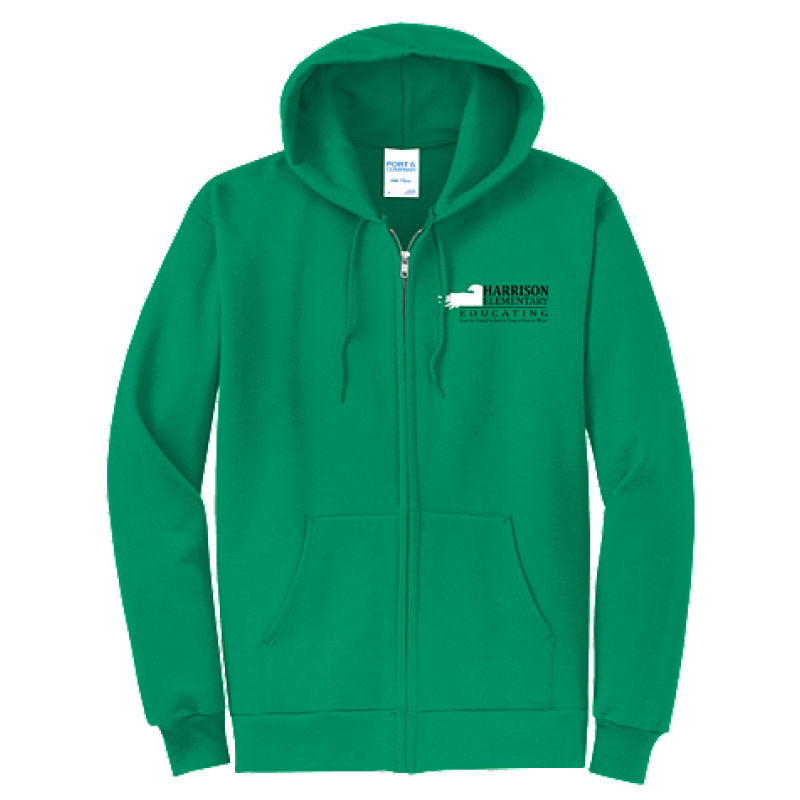 Harrison Hawks Adult Unisex Core Fleece Full-Zip Hooded Sweatshirt