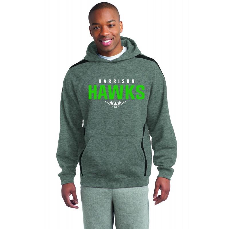 Harrison Hawks ADULT UNISEX, Sport-Tek® Sleeve Stripe Pullover Hooded Sweatshirt. ST265