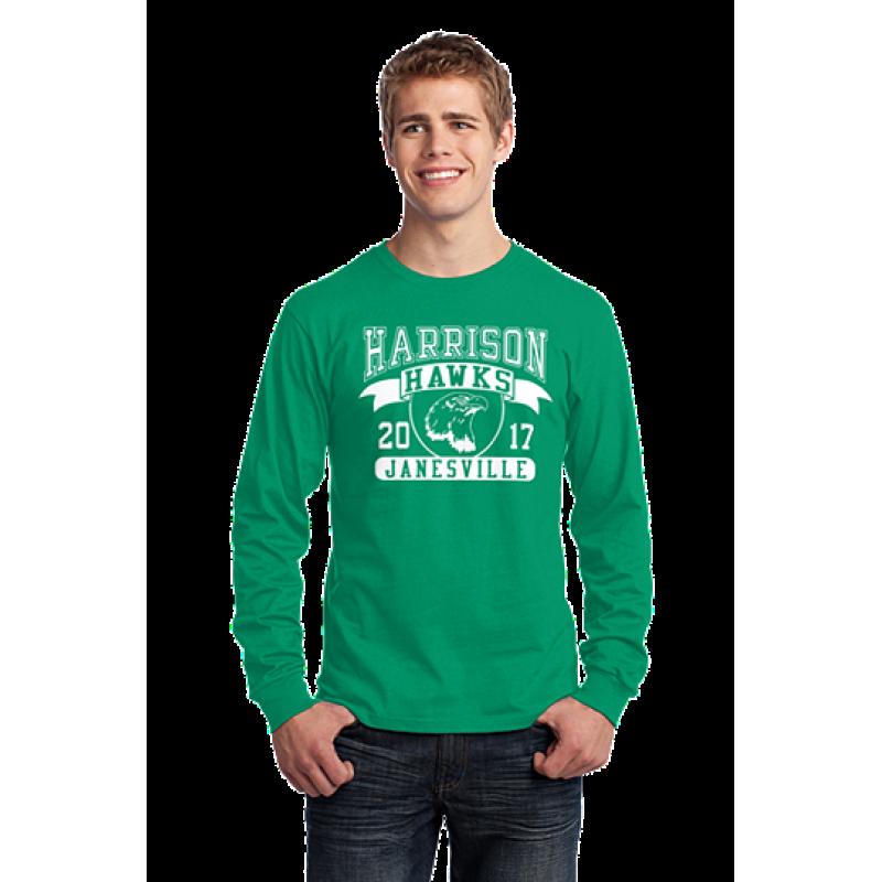 Harrison Hawks Adult Full Front Unisex L/S Core Cotton Tee