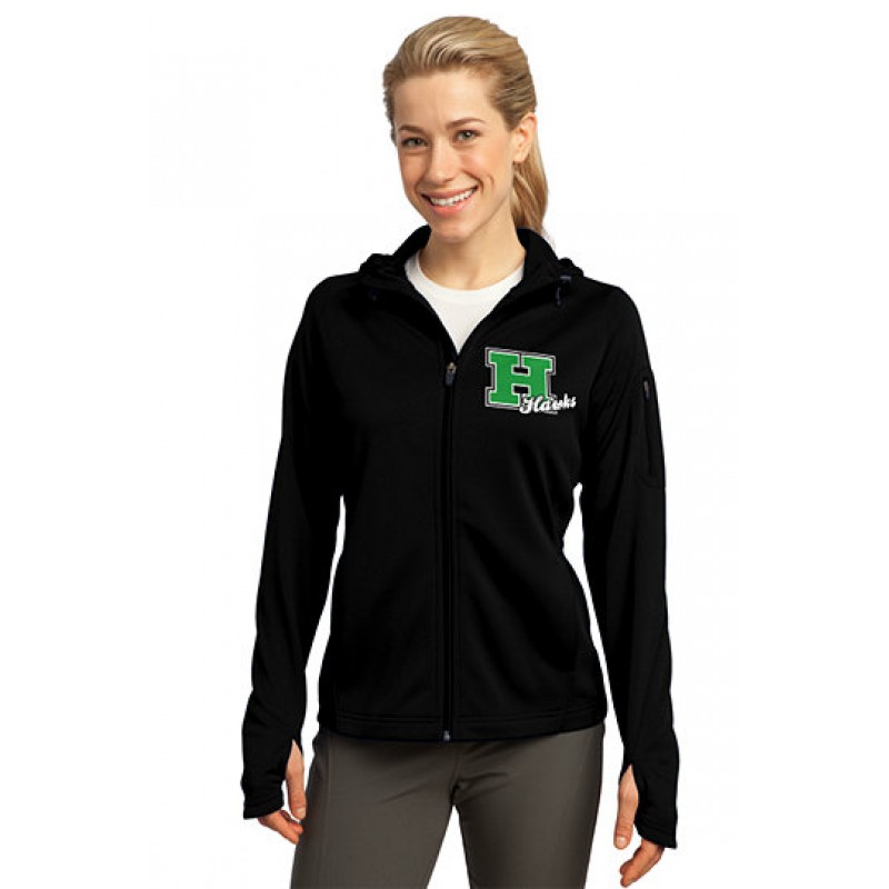 Harrison Hawks Adult Ladies Tech Fleece Full-Zip Hooded Jacket