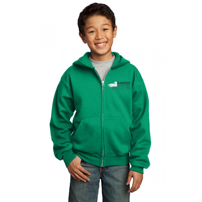 Harrison Hawks Youth Core Fleece Full Zip Hooded Sweatshirt