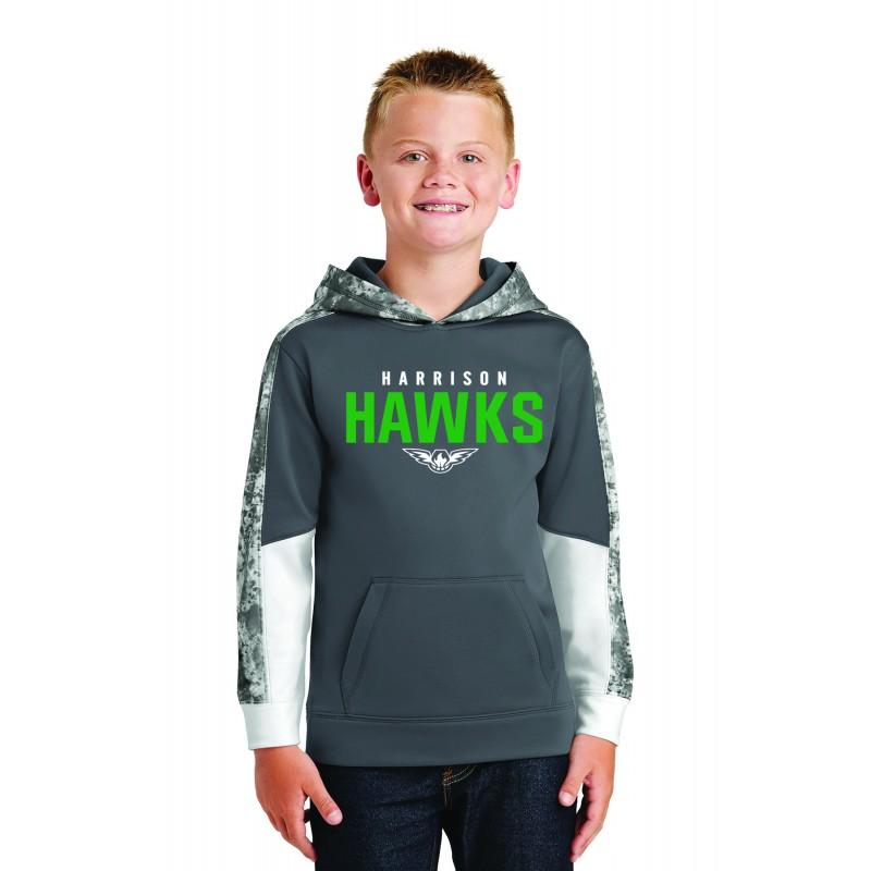 Harrison Hawks Sport-Tek® Youth Sport-Wick® Mineral Freeze Fleece Colorblock Hooded Pullover. YST231