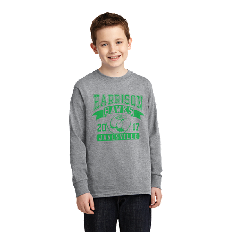 Harrison Hawks  Full Front Youth Long Sleeve Core Cotton Tee