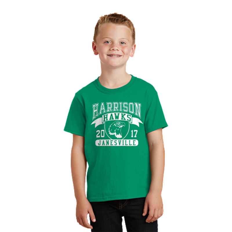 Harrison Hawks Full Front Youth Core Cotton Tee