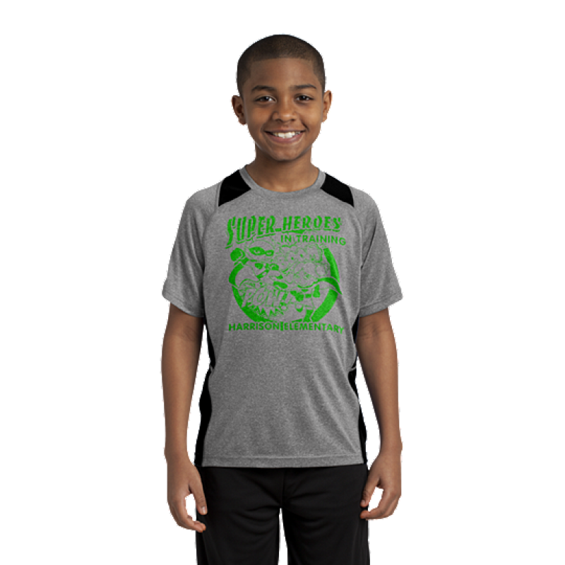 Harrison Hawks Superhero Youth Heather Colorblock Contender™ Tee